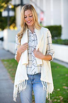 Van Ness Sweater Vest | White Plum