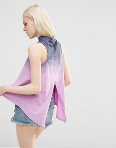 Image 1 of ASOS T-Shirt In Tie Dye With Split Back