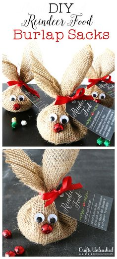 Reindeer Food Craft & Recipe Crafts Unleashed DIY Reindeer Food Burlap Sacks (hersheys kisses or m&ms would be fun too) The post Reindeer Food Craft & Recipe Crafts Unleashed appeared first on Holiday ideas. Holiday Crafts For Kids, Xmas Crafts, Christmas Projects, Kids Christmas, Holiday Fun, Homemade Christmas, Food Crafts, Christmas Bazaar Crafts, Holiday Gifts