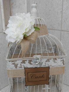 Birdcage Wedding Card Holder / Card Box / Rustic / by YesMoreFunk, $62.00