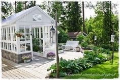 Must have- sinisen talon kuulumisia: kasvihuone Greenhouse Shed, Greenhouse Gardening, Outdoor Spaces, Outdoor Living, She Sheds, Potting Sheds, Garden Structures, Glass House, Dream Garden