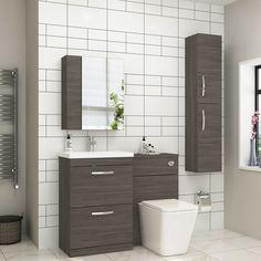 Turin 2-Drawer Grey Elm Mid-Edge Floor Standing Bathroom Furniture Pack - Elena Toilet Sink Vanity Unit, Bathroom Vanity Units, Bathroom Furniture, Cloakroom Sink, Cloakroom Suites, Small Bathroom Suites, Large Bathrooms, Bifold Shower Door, Shower Doors