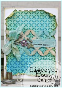 Tammy Tutterow | Discover Beauty Card featuring new Tim Holtz and Sizzix