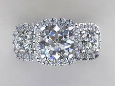Three Stone Halo Engagement Ring Set In Platinum With Forever Brilliant Moissanite & Diamonds. Engagement Ring Wedding Ring Anniversary Ring
