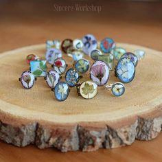 Sincere Workshop Jewelry dried flower epoxy resin ring boho