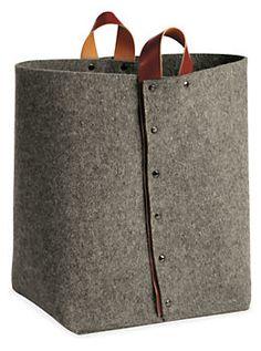 Byrd & Belle Felt Medium Kindling Tote in Grey  #leather #handles