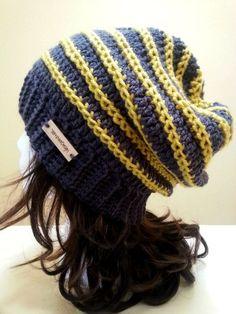 Grey and Yellow Stripe Slouchy Hat  Crochet by YarnOverDesign, $20.00 #crochet