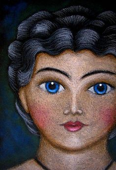 Art: NEW VINTAGE CHINA GERMAN DOLL PAINTING by Artist Cyra R. Cancel