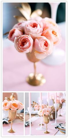 gold goblets with blush garden roses
