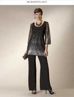 4cacea345f1 Glänzende schwarze Twe-Stücke Kleider der Mutter der Braut mit Hose passt  Pailletten .