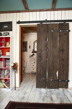 Porte coulissante vieux bois