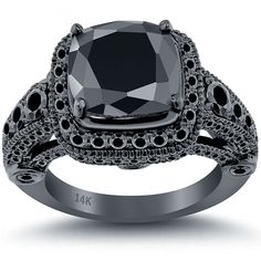 Black Diamond Engagement Rings Cushion Halo 6