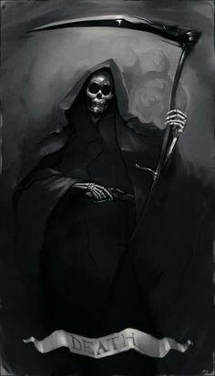 Grim Reaper Art, Grim Reaper Tattoo, Don't Fear The Reaper, Skeleton Drawings, Dark Art Drawings, Arte Horror, Horror Art, Tarot Death, Celtic Dragon Tattoos