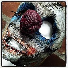 Gags Half Mask Sinister FX Clown Half mask made from burlap and latex with an elastic strap. Hand painted and hand stitched with a safety pin'd mouth.  #burlap #latex #mask #Halloween #costume #clown  https://www.facebook.com/sinistermasks