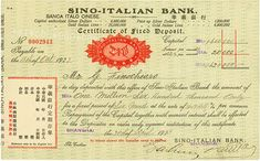 Sino-Italian Bank #Shanghai, 30 April 1923, Certificate of Fixed Deposit for 1.6 million Marks and 20,000 Marks interest (2.5 %), payable on 11 October 1923, #2943, 15.8 x 25.3 cm, green, black, red, text in English, partially also in Chinese, folds, rarity!