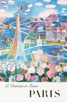 Le Printemps en France - Paris, 1966 by Raoul Dufy. Vintage travel poster