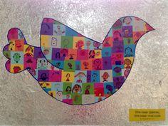 Onze versie van de vredesduifcollage, ook op Pinterest gevonden. Zelfportretjes van kids van het 1ste en 2de leerjaar en hun vriendjes.  Thema: Wakker voor vrede