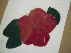 PRE CUT STAINED GLASS KIT, BEAUTIFUL RED HIBISCUS WITH GREEN LEAVES #NAAS  it looks a lot better when it;s all done.