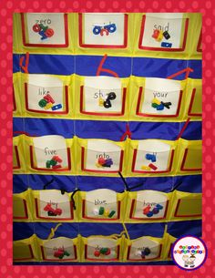 Word work center with pocket chart, pipe cleaners, and letter beads.