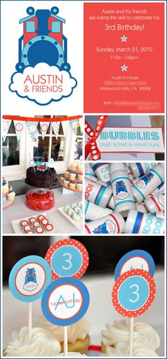 Sugar cookies, bubble favors, and cupcake toppers for a train birthday party.