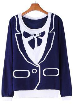 Blue Plain Bow Round Neck Cotton Blend Pullover