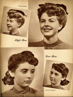 Lovely 1940s hairstyle and bow placement ideas. #vintage #hairstyle #bow #1940s