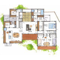 清家修吾さんはInstagramを利用しています:「. 【ボツプラン628】 広い間取りですね。リビングの広さや収納の多さもいいですが、収納がいろんな場所に散らばっていると使いやすいので、お客様にも喜んでいただけそうですね😊 . ---------------------------------- 本体価格 :…」 Decor Interior Design, Interior Decorating, Rendered Plans, Traditional Japanese House, I Love House, Underground Homes, Japanese Interior, Home Design Plans, House Layouts