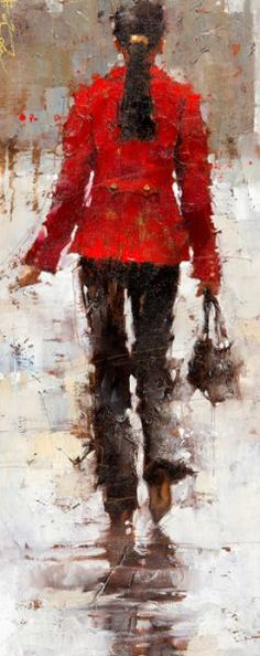 """A fine lady struts along, perhaps through #Paris, in Andre Kohn's """"Vintage Chanel."""" See more lots from this year's Charleston Art Auction by clicking the image. #fineart #art #painting #impressionism #red #fashion #chanel #style #charleston #southcarolina #lowlands #savannah"""
