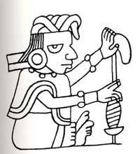 a Mayan spinner as represented in the Codex Vindobonensis. Spinning cotton with a supported spindle.