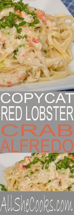 Copycat Red Lobster Crab Alfredo. You will love this classic alfredo recipe with pieces of crab meat.