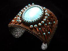Beaded Cuff - Peyote stitch, edge beadwork, seed beads, bugle beads. http://www.artfire.com/ext/shop/product_view/BeadSpiritDesigns/8714196/beaded_cuff_-_peyote_stitch_edge_beadwork_seed_beads_bugle_beads/handmade/jewelry/bracelets/beadwork