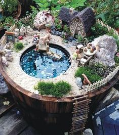 A Lakeside Cottage Fairy Garden Amazing DIY Mini Fairy Garden for Miniature Landscaping 3 Incredible Miniature Fairy Gardens To Inspire – HomeGardenMagz Do you like 50 Beautiful DIY Fairy Garden Design Ideas ? Have you heard of those adorable Fairy gard Mini Fairy Garden, Fairy Garden Houses, Diy Garden, Gnome Garden, Garden Crafts, Garden Bed, Fairy Gardening, Diy Fairy House, Fairies Garden