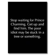 Funny pictures about Stop waiting for Prince Charming. Oh, and cool pics about Stop waiting for Prince Charming. Also, Stop waiting for Prince Charming. Great Quotes, Quotes To Live By, Me Quotes, Inspirational Quotes, Quotes Pics, Quotes Women, Witty Quotes, Crazy Quotes, Hurt Quotes