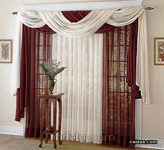 JC Penney Lisette Voile Scarf Valance Crimson on PopScreen Living Room Windows, Living Room Decor, Scarf Valance, Window Scarf, Drapery Designs, House Blinds, Home Curtains, Beautiful Curtains, New Room