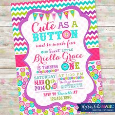 cute as a button birthday invitations | Cute as a Button Birthday Invitation Sew Sweet Invite with Buttons ...
