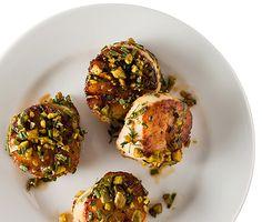 Pistachio-Crusted Scallops Recipe at Epicurious.com
