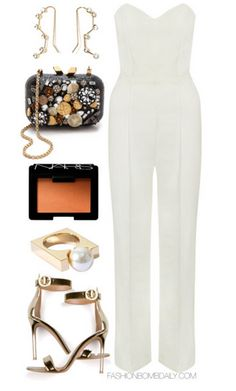 What to Wear to a Semi Formal Women's Day Event Limited Edition Cream Sweetheart Tailored Jumpsuit Gianvito Rossi Gold-Tone Leather Heels Sandals Kotur Margo Embellished Minaudiere