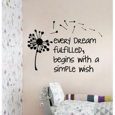 """Every dream fulfilled"" Dandelion Vinyl Wall Art"