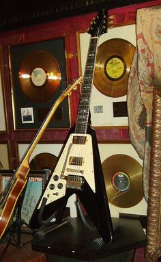 Jimi Hendrix's Flying Vee guitar that he used at the Isle of Wight festival in 1970.