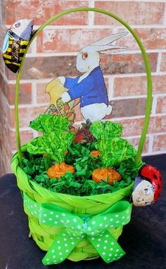 Easter Basket - Lindt chocolate carrots and bugs...Peter Rabbit image from Chocolate Rabbit