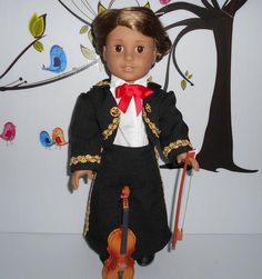 Mariachi charra suit traje black gabardine gold trim fits 18 in like American Girl doll Folklorico Dresses, Mariachi Suit, Boy Doll, American Girl, Dress Up, Suits, Fitness, Cotton, Jackets