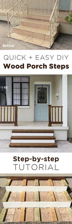 Simple DIY Wood Porch Steps Makeover - Home Design Inspiration Porch Steps, Front Steps, Simple Diy, Easy Diy, Front Porch Makeover, How To Waterproof Wood, Outdoor Steps, Porch Accessories, Concrete Steps