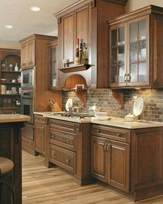 Kitchen Cabinets 20 Stunning Kitchens With Brick Backsplash For Pleasant Atmosphere - Brick as a decorative element can be used in any room, and the best will come to the fore in the kitchen, dining room and living room. Backsplash With Dark Cabinets, Maple Cabinets, New Kitchen Cabinets, Kitchen Redo, Kitchen Backsplash, Backsplash Ideas, Tile Ideas, Kitchen Ideas, Mirror Backsplash