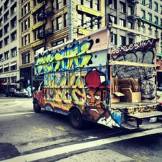 I saw this really cool truck while walking the streets of sanfrancisco .. Nice graffiti work