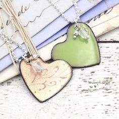 Reversible Heart Charm Necklace - Greenery Green and Rose Gold Enamel – Vintage Cravens