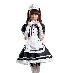 Pavelimchuk Womens Anime Cosplay French Apron Maid Fancy Dress Costume Black 3XL >>> Details can be found by clicking on the image.