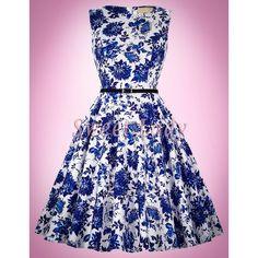 79d57b7ccc46 Biele retro šaty s modrými kvetmi 034 - Sweetlady.eu Stylus