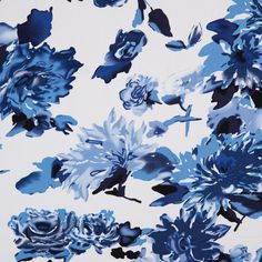 Blue/White Floral Stretch Cotton Poplin Fabric by the Yard | Mood Fabrics
