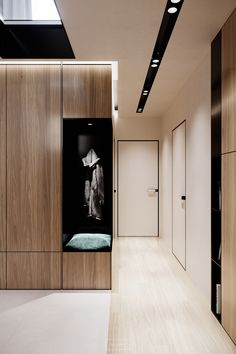 An apartment inspired by natural materials designed by hilight. A house located in Warsaw, Poland. Design Hall, Entrance Design, Door Design, House Design, Interior Design Minimalist, Luxury Decor, Ceiling Design, Halls, Modern Bathroom