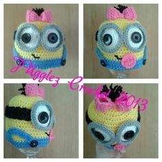 Awe baby girl crochet beanie minion I loved making this and my own design£6 as beanie £8 as ear flap hat www.facebook.com/jugglezcrochetheadwear